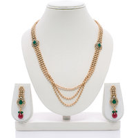 Senorita Traditional Necklace Set PS0012 With Antique Gold Finish And Multi Ston