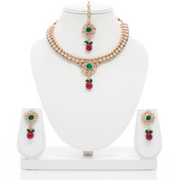 Senorita Traditional Necklace Set PS0013 With Antique Finish And Multi Stones Wi