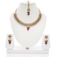 Senorita Traditional Necklace Set PS0014  With Antique Finish And Multi Stones