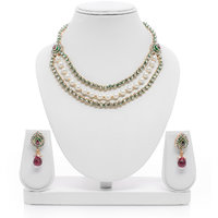 Senorita Traditional Necklace Set PS0017 With Antique Gold Finish, Kundan, Pearl