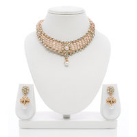 Senorita Traditional Necklace Set PS0025 With Pearls, AD Stones And Antique Gold