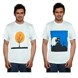 Pack Of 2 Blue Port White Graphic Printed Round Neck T Shirt For Men