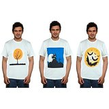 Pack of 3 Blue Port White Printed Round Neck T shirt For Men