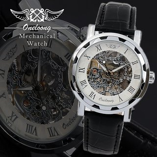 New Mechanical Watch For Men With Skeleton Dial Party Wear Black Leather Watches