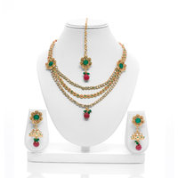 Senorita Traditional Necklace Set PS0009 With Multi Stones And Antique Gold Fini