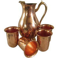 COPPER JUG WITH 4 PIECE GLASS SET,LEMON SET,GIFT,KITCHEN,HANDICRAFT KITCHENWARE