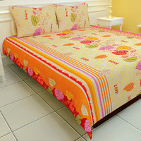 Carah Exclusive Printed Double Bedsheet With Two Pillow Covers (CRH-DB111).