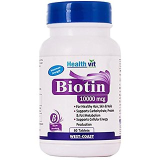 HealthVit Biotino-10000 Biotin 10,000mcg Maximum Strength 60 Capsules For Hair, Skin Nails