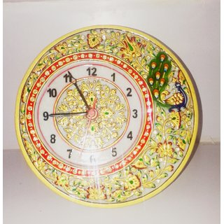 White marble clock with kundan and meenakari work in peocock design