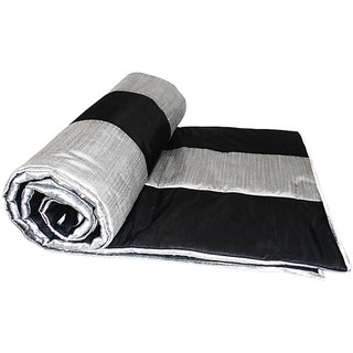 Black and Silver Straight Stripe Queen Quilt (150 x 225 cms)