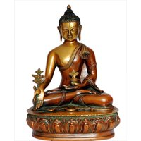 "StatueStudio Medicine Buddha On Lotus Flower Base 13"" - Copper Orange Polish"