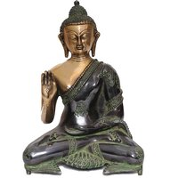 "StatueStudio Sitting Protector Buddha 12"" - Black Green Polish"