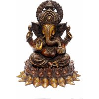 "StatueStudio Chaturbhuj Kamal Ganesha On Lotus Flower Base 15"" - Copper Red Polish"