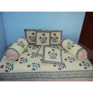 Vivid Rajasthans' Jaipuri Sanganeri Block Print Diwan set (Pack of 8)