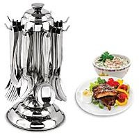 Standard Stainless Steel Cutlery Set With Stand 24 Pcs