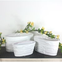 White Oval Ceramic Planter- Set Of 3