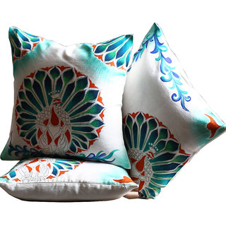 Rangrage - Marbled Peacock Trio - Hand painted - White - Cotton Cushion Cover