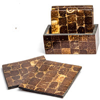 Coconut Shell Five Set Square Coaster With Holder