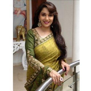 Madhuri Dixit Yellow Green Bollywood Saree