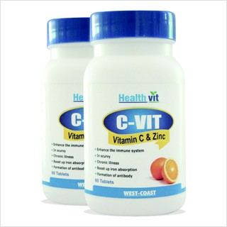 Buy 1 Get 1 Free HealthVit C-VIT Vitamin C and Zinc 60 Tablets (Pack Of 2)