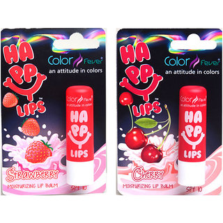 Color fever Moisturizing Lip Balm Combo - Stawberry + Cherry