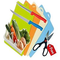 Plastic Kitchen Cutting Board 2 Knife With Free Scessors
