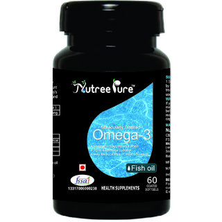 Nutree Pure Omega3 Fish Oil 1000 mg - 60 Soft gel capsules ( Molecularly Distilled Fish oil from Deep Ocean Water Fish