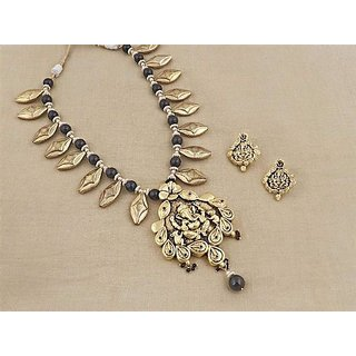 Firstloot Temple Necklace Set In Black And Gold Colour - PES29
