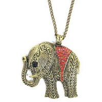 GirlZ! Stylish red crystals elephant pendant with chain