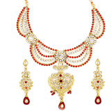 CJTL Designer Bridal Gold Plated Necklace Set with marron Dangling Stone and Matching Earrings(TR-77308-MG)