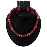 Red Color Designer And Trendy Ploymer Clay Necklace Set