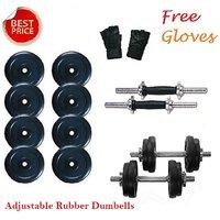 Welkin 40 Kg Adjustable Rubber Dumbells Sets With 2 Rods + Gloves