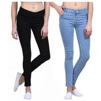 9e7e53511a5 Mynte Skinny Fit Black-Ice Blue Ladies Jeans Combo