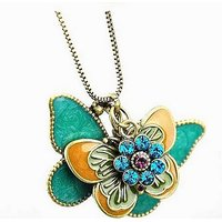 GirlZ! Hot Fashion vintaged multicolor Double butterfly pendant necklace