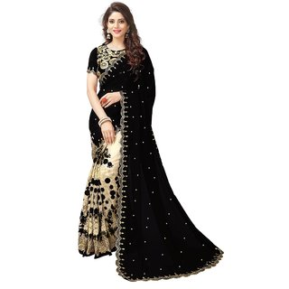 CRAZYDDEAL Black Cream Georgette Embroidered Saree With Blouse
