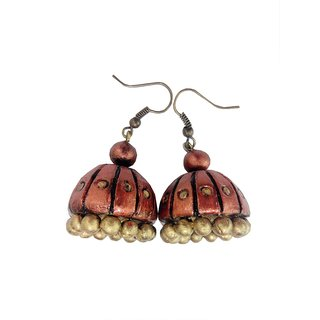 Mishti Creations Copper Color Traditional Handmade Terracotta Jhumka