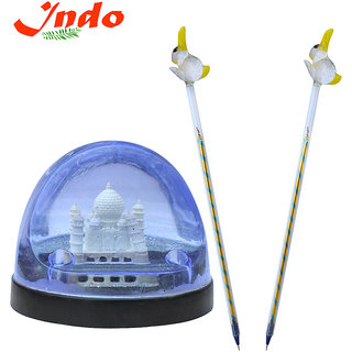 TAJ Mahal in Water filled Pen holder With Set of Glass Pen Free