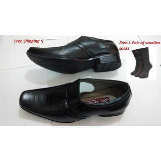 Mens Black Shoes With Free Woollen Socks-01