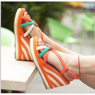Fashion Icon: Orange Stylish Colorful Stripe Buckle Knitted Sandal(Size:38,39)