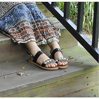 Fashion Icon:Flat Shoe Black Bohemian Pearl Style (Eu Size:37)