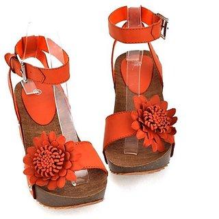 Fashion Icon:Orange Sweet Flower Style Solid Sandals(Eu Size:37)