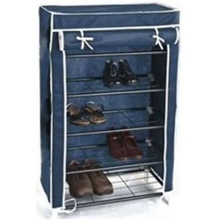Portable Folding 4 Layer Tier Shoe Rack With Wardrobe Cover - 4SHRK