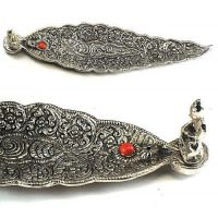 SET OF 2 :INCENSE STICK AGARBATTI STAND GANESH LEAF SHAPE GIFT ITEM PUJA ARTICLE