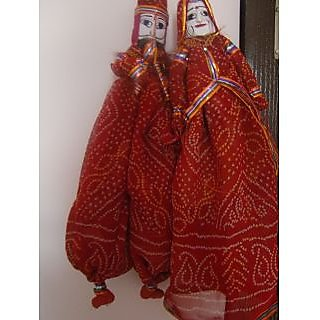Rajasthani Handmade Puppets Home Decorative Wooden  Cloth Kathputli Set Of 2