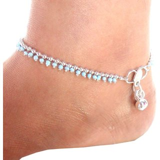 Beadworks Handcrafted Beaded Anklet-13-Turquoise