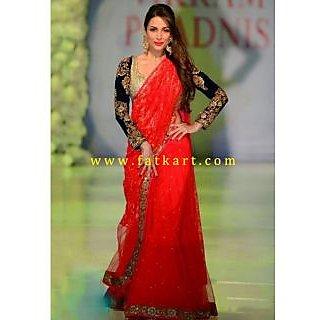 Malaika Arora Khan Red Embellished Net Lehenga Saree
