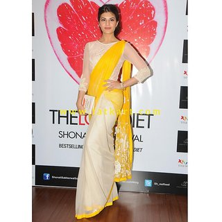 Jacqueline Fernandez Off-White and Yellow Half and Half Saree