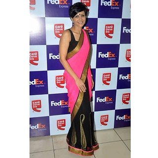 Mandira Bedi Pink Georgette Stylish Bollywood Saree