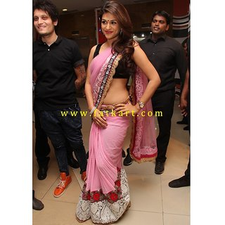 Sraddha Das Pink Net Bollywood Saree