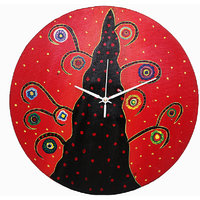 Wall Clock - Round - Multi Color - Bright Side - Wooden Wall Clock - Rangrage